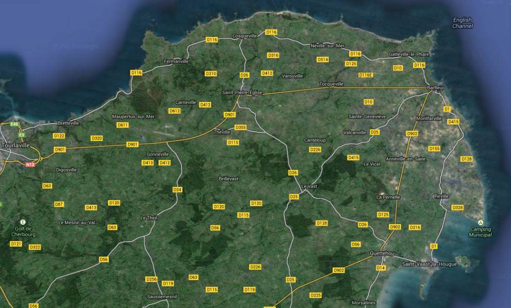 Le Val de Saire par Google Map